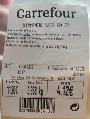 L'Emmental Français - Voedingswaarden - es