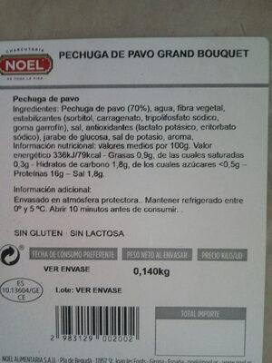 Pechuga de pavo grand bouquet - Información nutricional - es