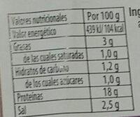 Jamón cocido extra - Información nutricional