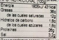 Salchichón de León extra - Informació nutricional - es