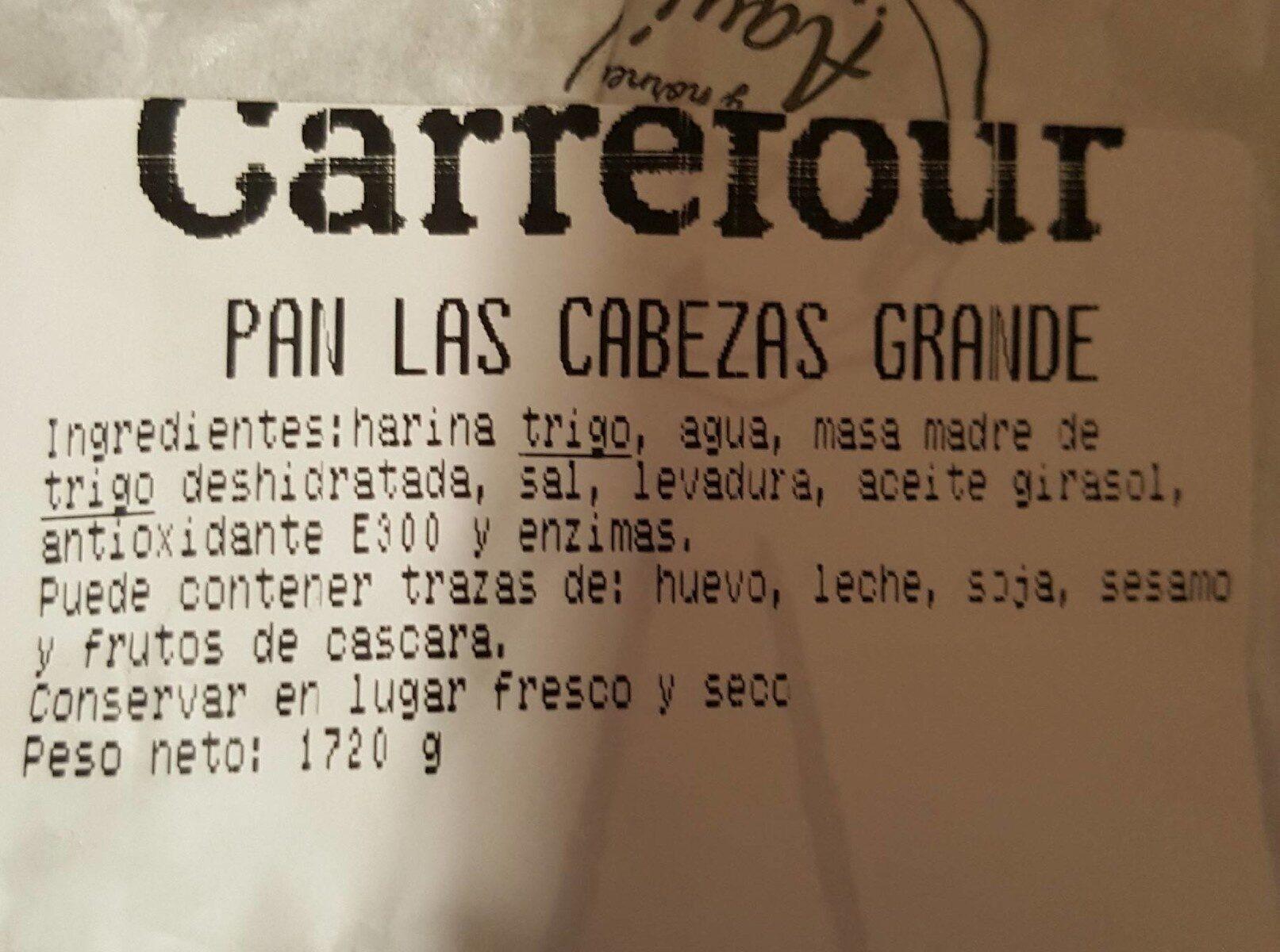 PAN DE LAS CABEZAS - Informations nutritionnelles - es