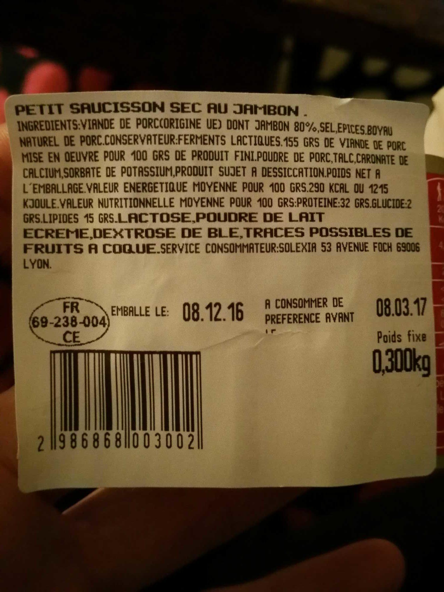 Petit Saucisson Sec au Jambon - Produit - fr