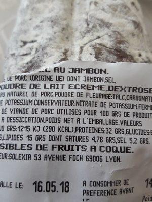 Petit Saucisson Sec au Jambon - Ingrédients - fr