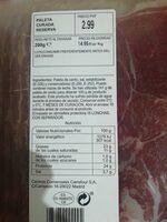 Paleta curada reserva - Ingrediënten