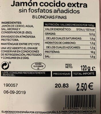 Jamon cocido extra sin fosfatos - Información nutricional