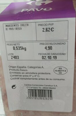 Chuleta de pavo fresca - Nutrition facts - es