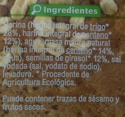 Pan 100% integral - Ingredientes - es
