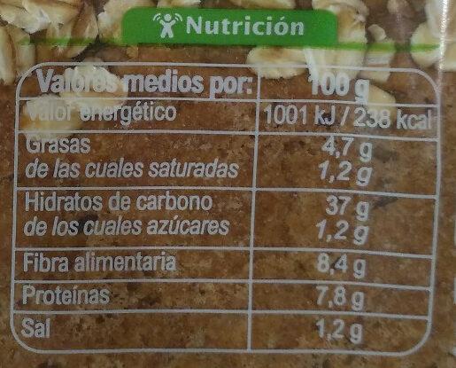 Pan 100% integral - Información nutricional - es