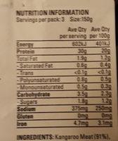 Herb and Garlic Kangaroo Steak - Nutrition facts