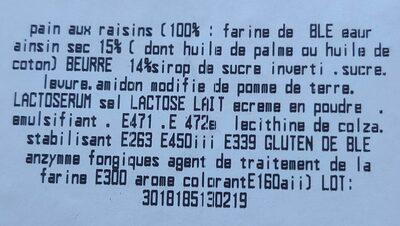 Pains aux raisins - Ingrédients