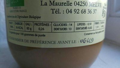 Purée de pomme Bio - Ingrédients - fr
