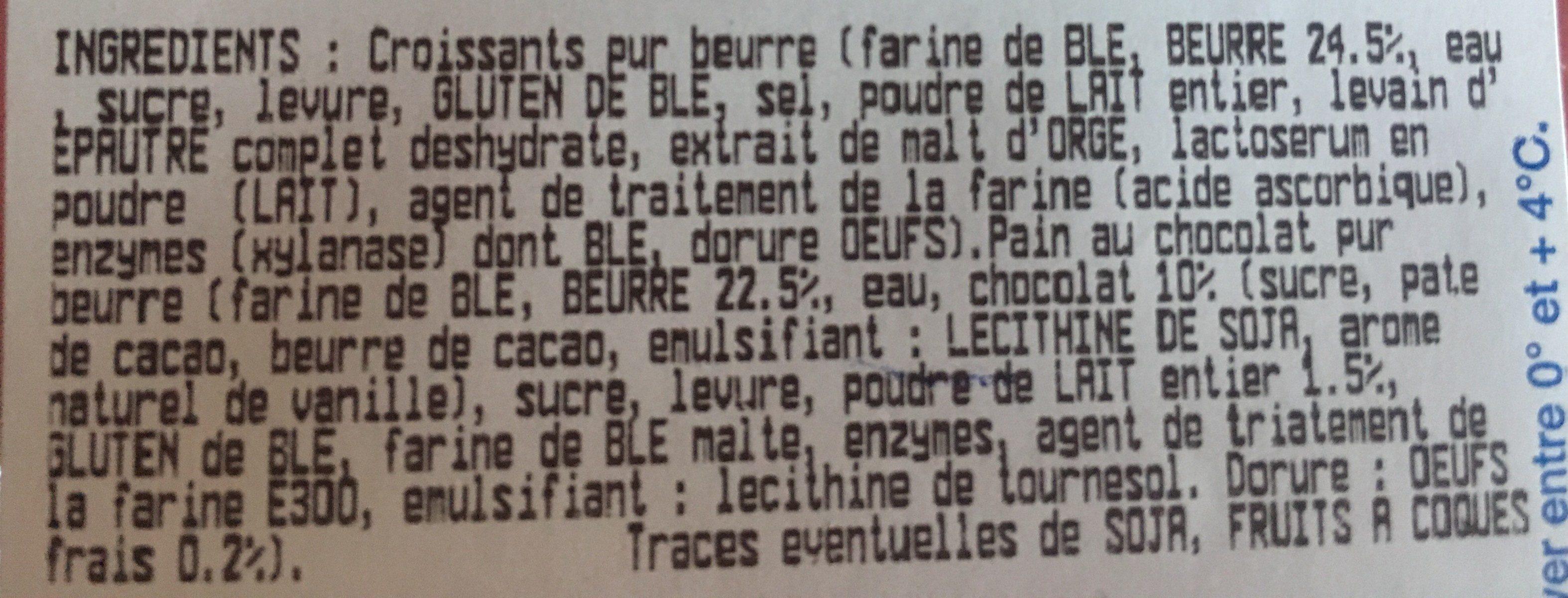 5 croissants + 5 paints chocolats pur beurre - Ingrediënten