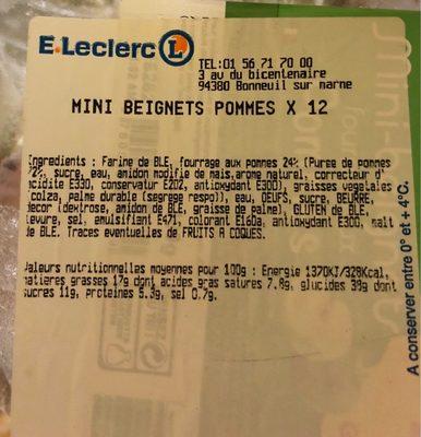 Mini beignets pommes - Ingrédients