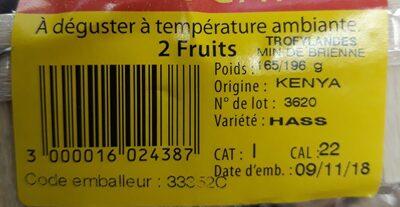 Avocat 2x - Ingrédients - fr