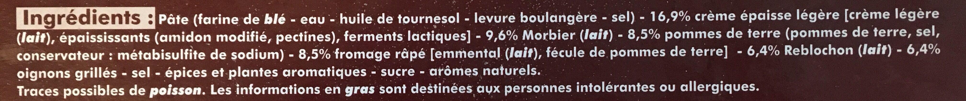 Pizza montagnarde - Ingredients