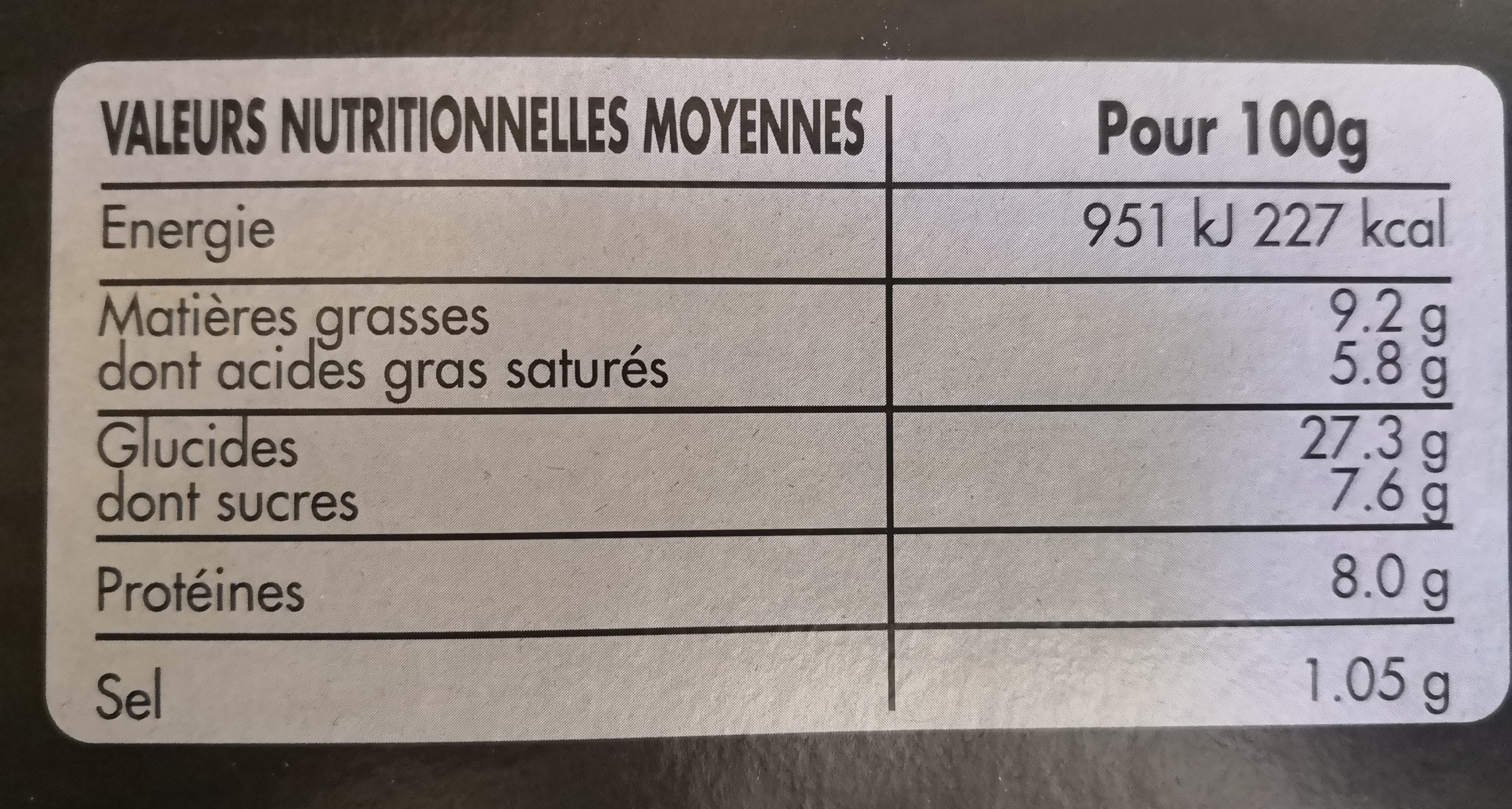 Pizza maroilles - Nutrition facts