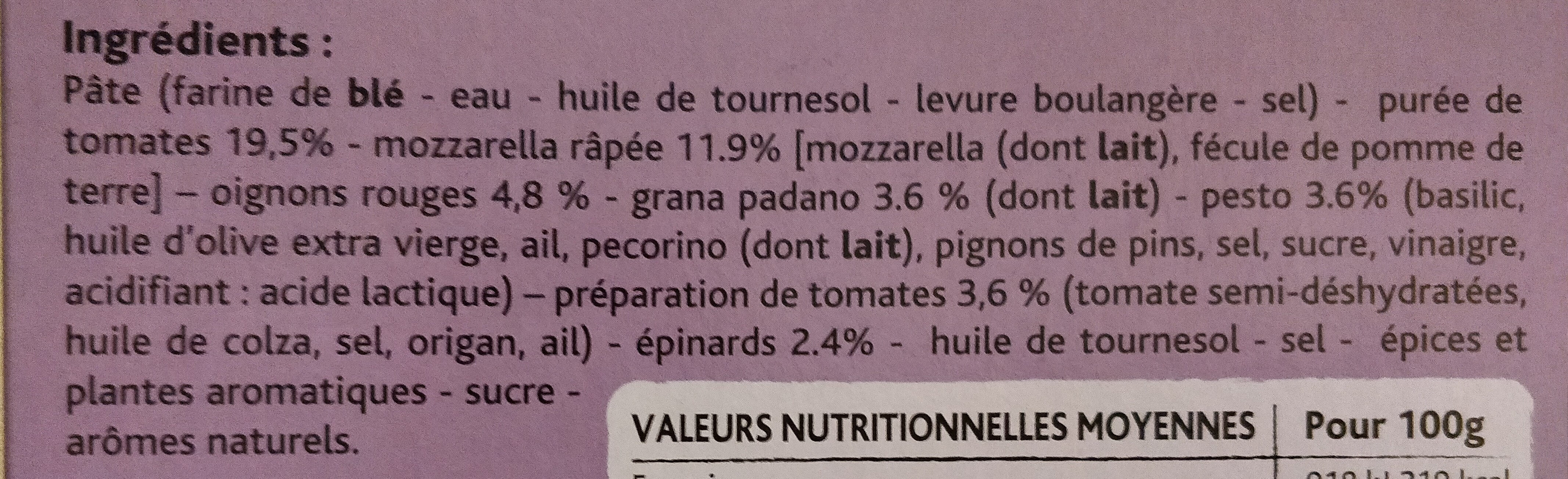 Pizza legumes - grana padano - pesto - Ingredientes