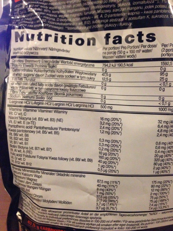 Carbonox - Nutrition facts