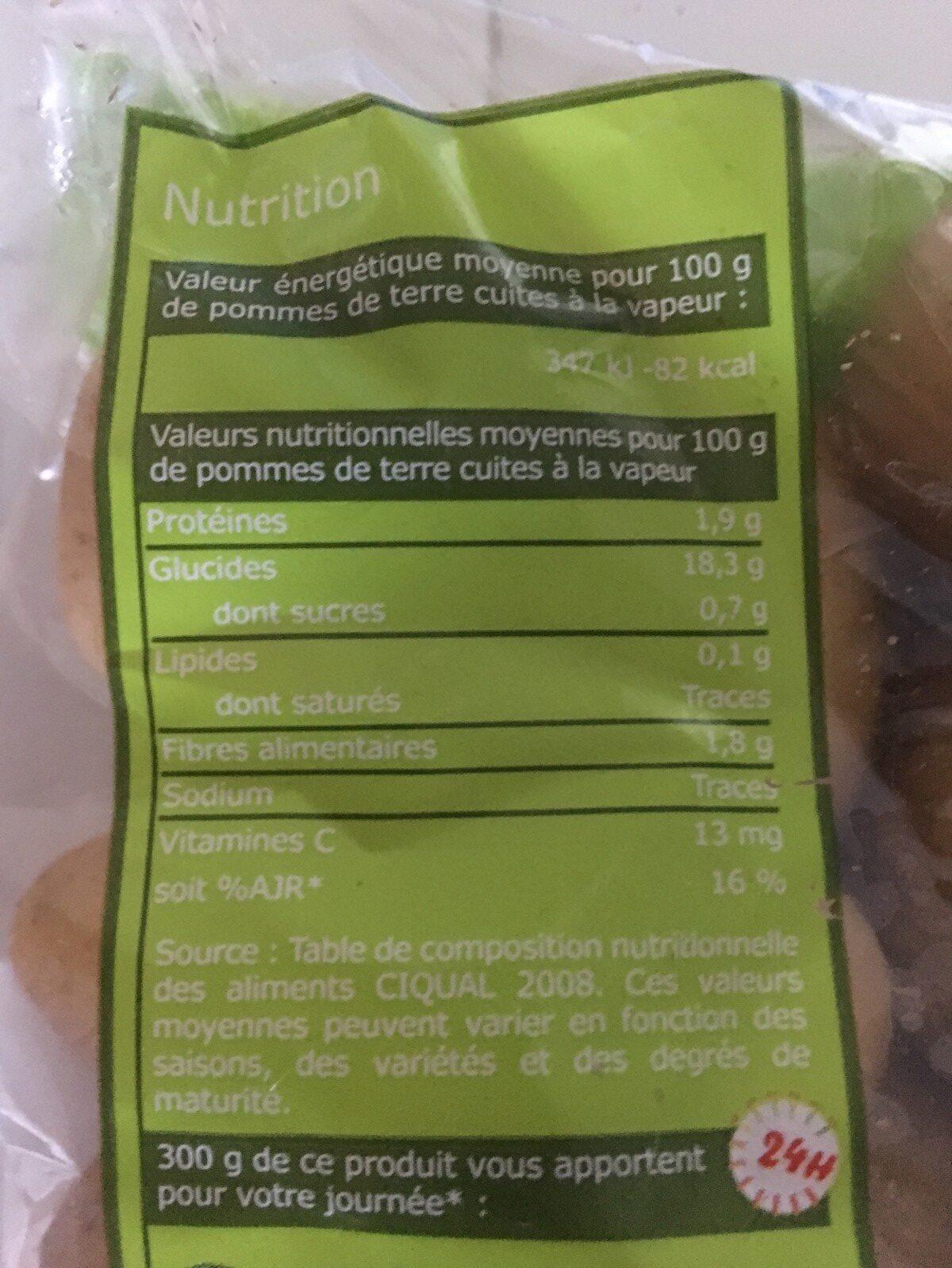 Pommes de Terre (Chair sans Peau, sans Sel, Bouillies) - Ingrédients