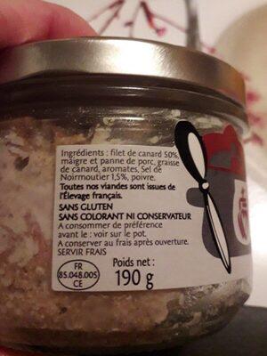 Rillettes de canard au sel de Noirmoutiers - Ingrédients - fr