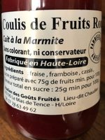 Coulis de fruits rouges - Ingrédients - fr