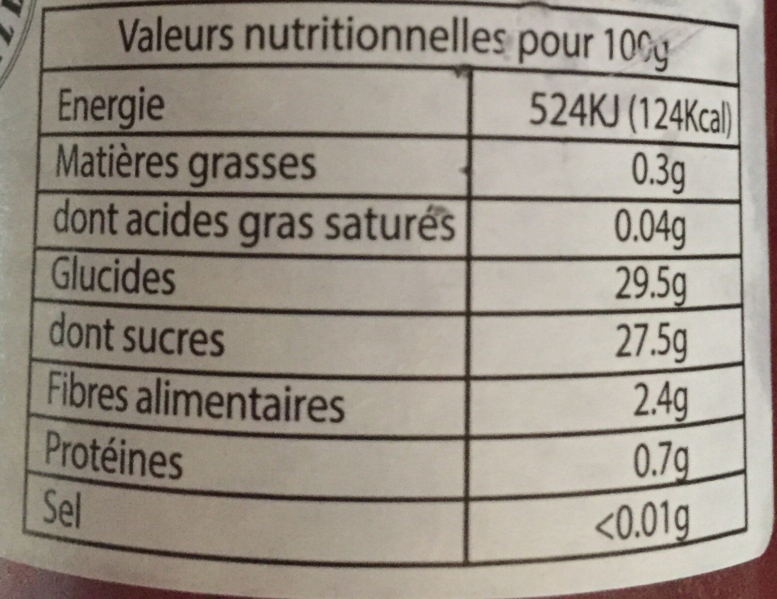 Coulis de fruits rouges - Informations nutritionnelles - fr