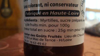 Coulis de myrtilles - Ingrédients - fr