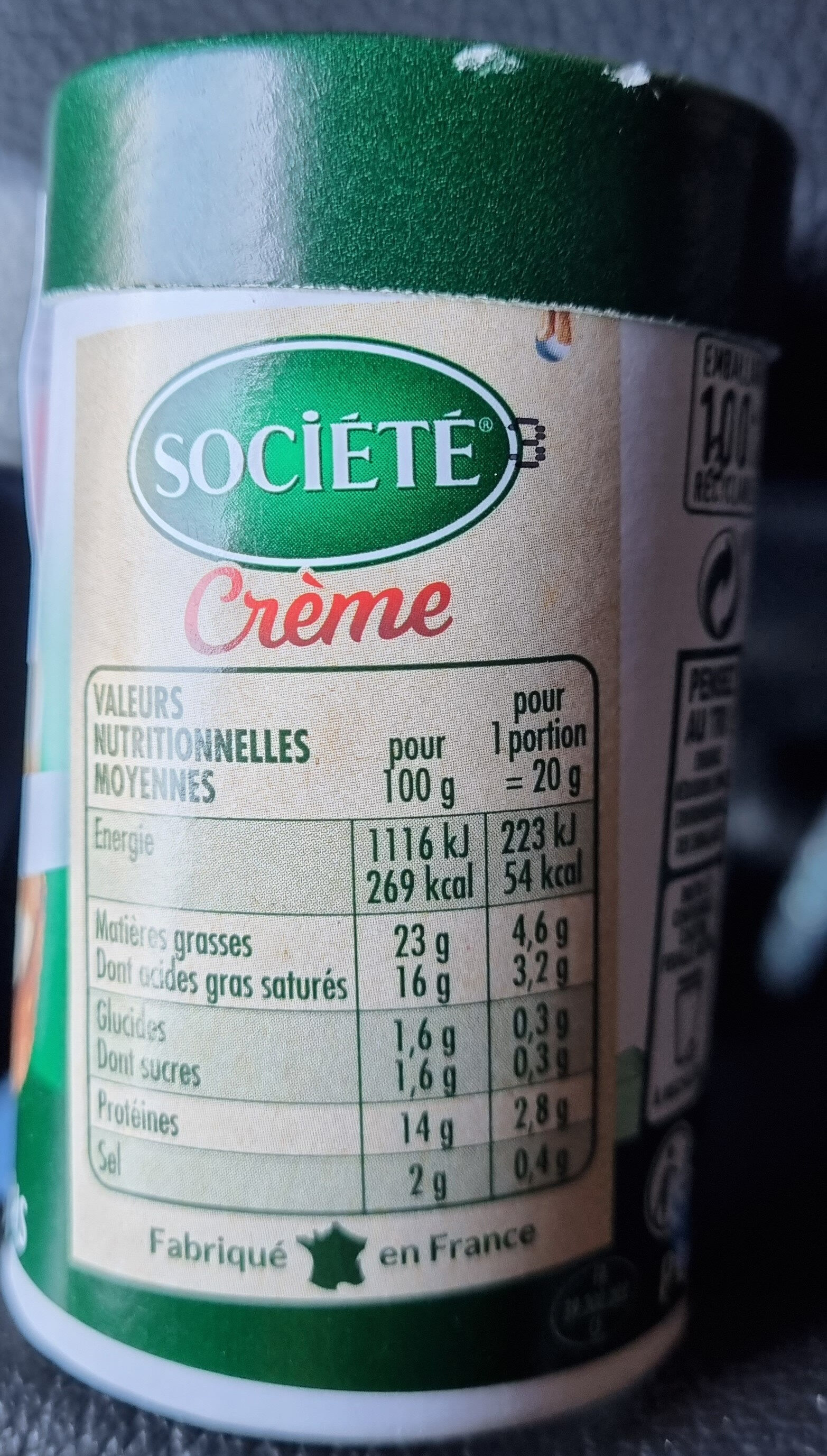 Société crème - Nutrition facts - fr