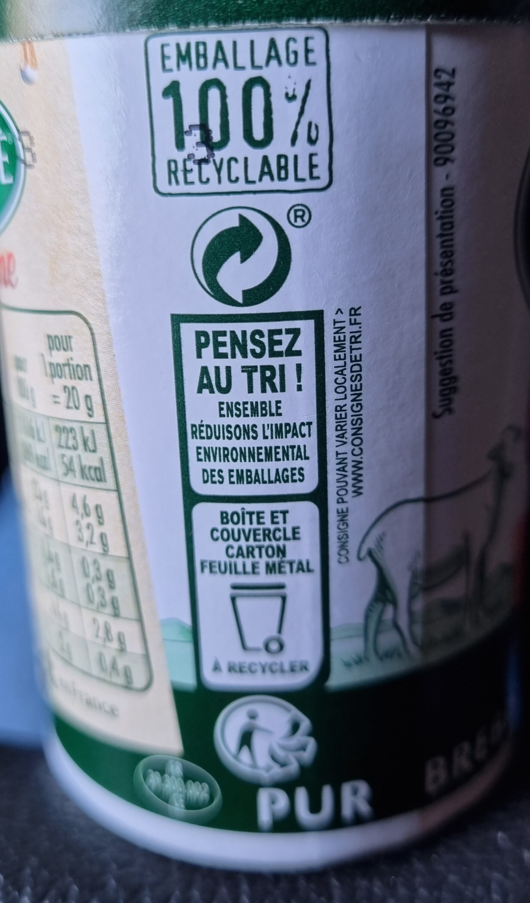 Société crème - Recycling instructions and/or packaging information - fr