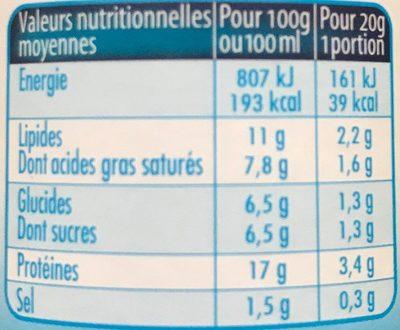 Société léger et fondant (11% MG) - Informations nutritionnelles - fr