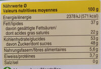 Chocolat crémant - Voedingswaarden - fr