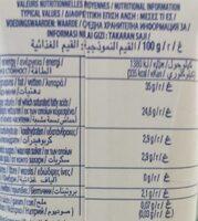 Crème liquide UHT - Informations nutritionnelles - fr