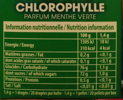 Hollywood Classic Chorophylle menthe verte - Informations nutritionnelles - fr