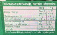 Hollywood Classic Chorophylle menthe verte - Informations nutritionnelles - fr