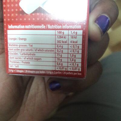 Chewing-gum parfum fraise des bois - Informations nutritionnelles