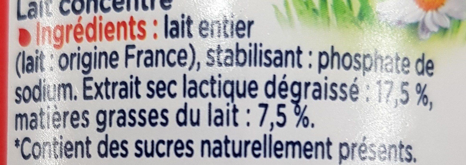 Lait concentré non sucré Entier (7,5 % MG) - Ingrédients