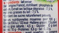 Lait concentré non sucré Entier (7,5 % MG) - Informations nutritionnelles