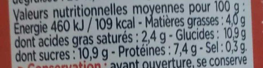 GLORIA Lait Concentré Non Sucré 1/2 Ecrémé 4% - Informations nutritionnelles - fr