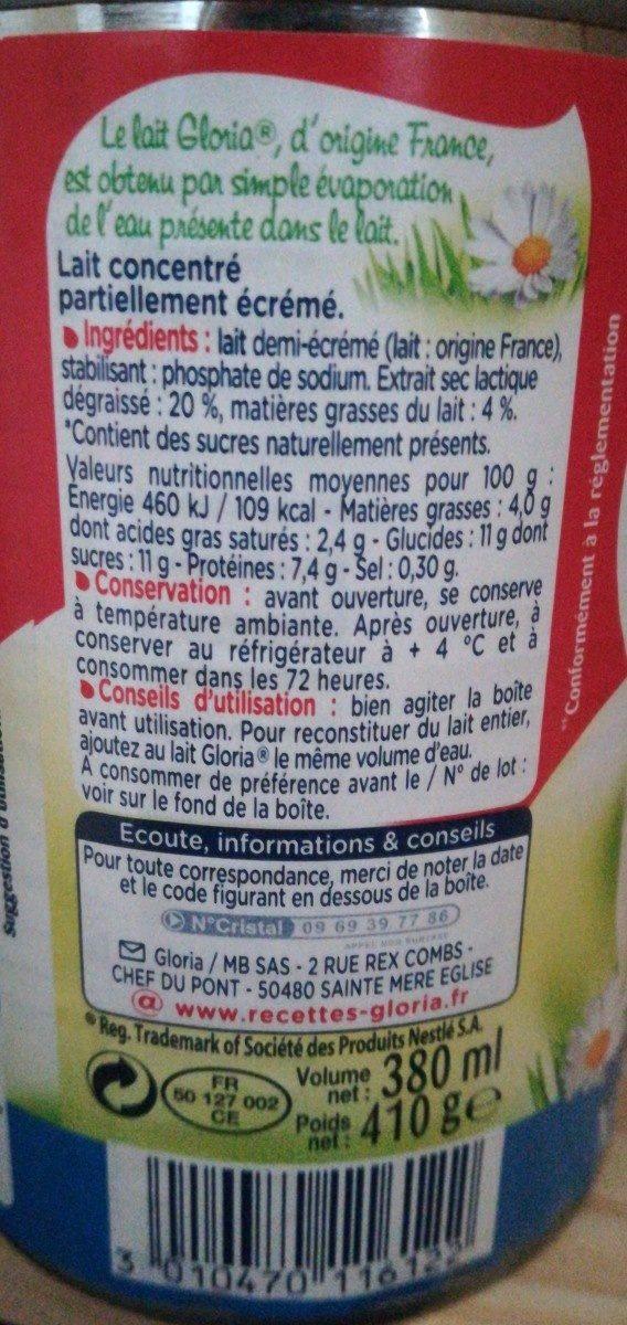 GLORIA Lait Concentré Non Sucré 1/2 Ecrémé 4% 3x410g - Ingrédients - fr