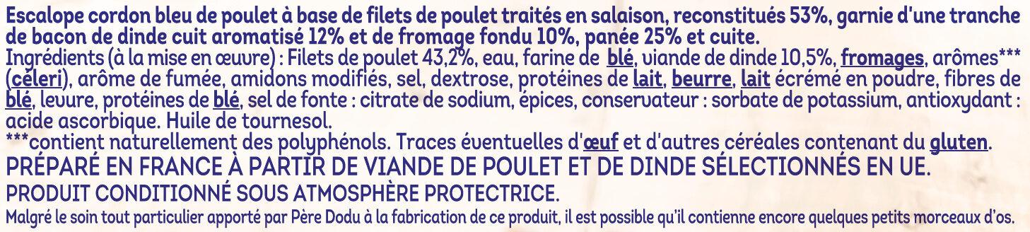 Escalope cordon bleu au bacon de dinde - Ingrédients - fr