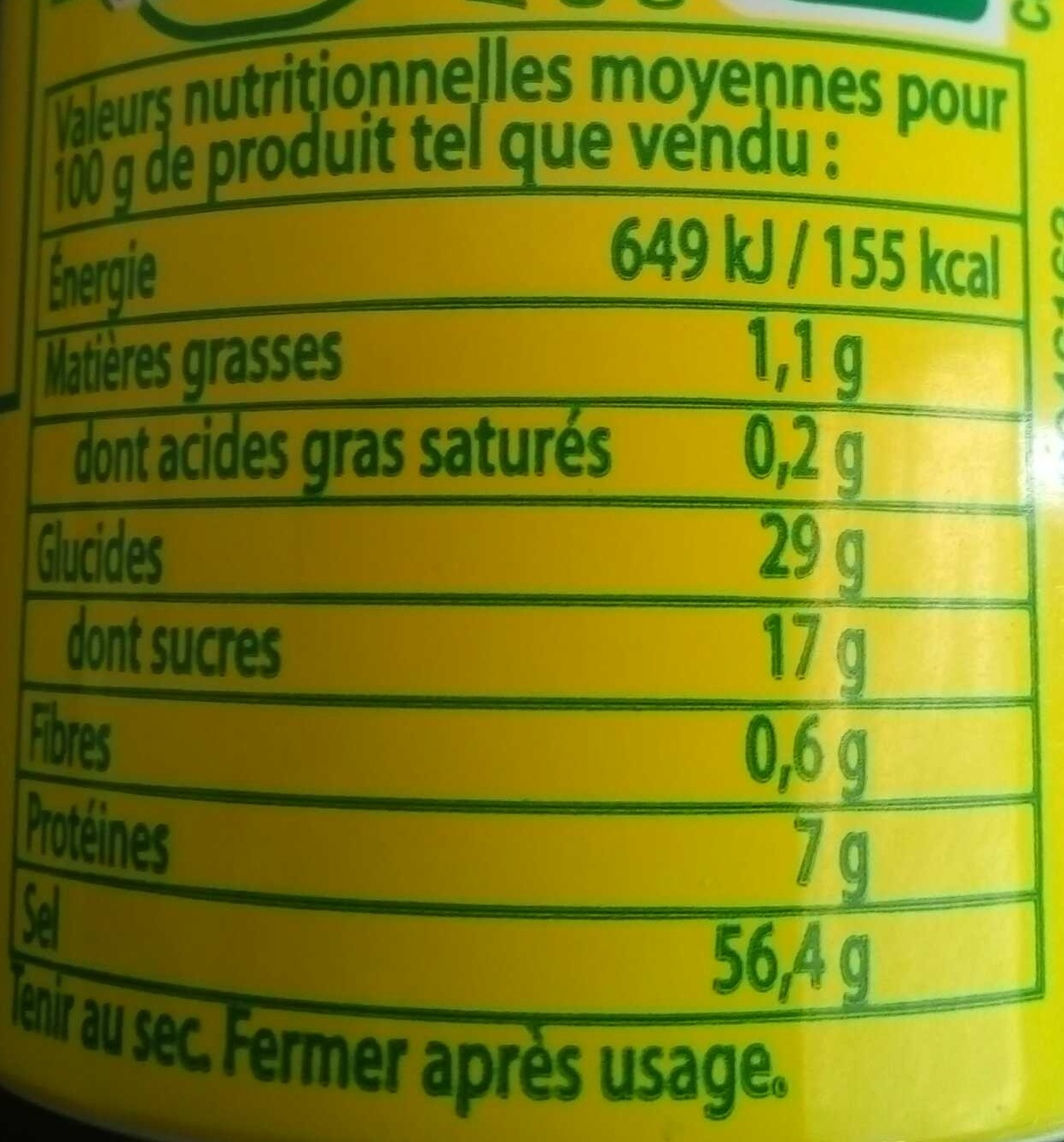 Aromat condiment - Nutrition facts