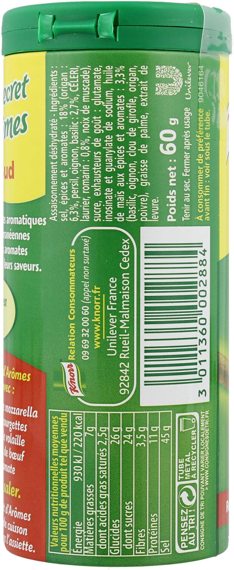 Knorr Secrets d'Arômes Assaisonnement En Poudre Plein Sud Tube 60g - Ingredients - fr
