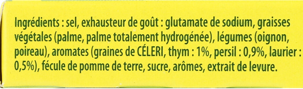 Knorr Bouillon Cube Bouquet Garni Thym Persil Laurier 9 Cubes - Ingredients - fr