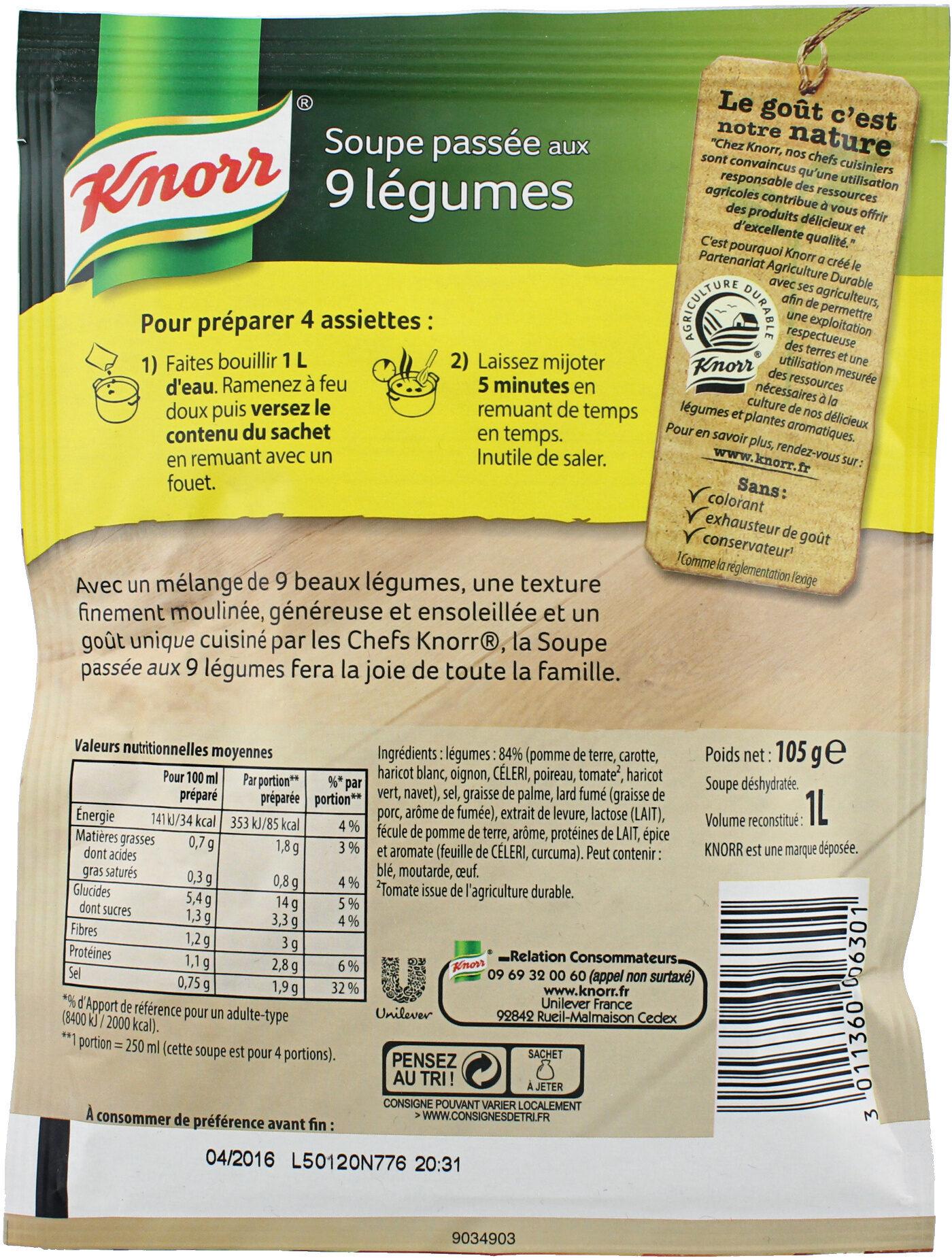 Knorr Soupe Déshydratée Passée aux 9 Légumes 105g 4 Portions - Ingrédients