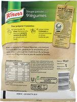 Knorr Soupe Déshydratée Passée aux 9 Légumes 105g 4 Portions - Informations nutritionnelles