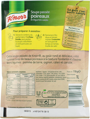 Knorr Soupe Passée Poireaux Légumes Variés 110g 4 Portions - 栄養成分表
