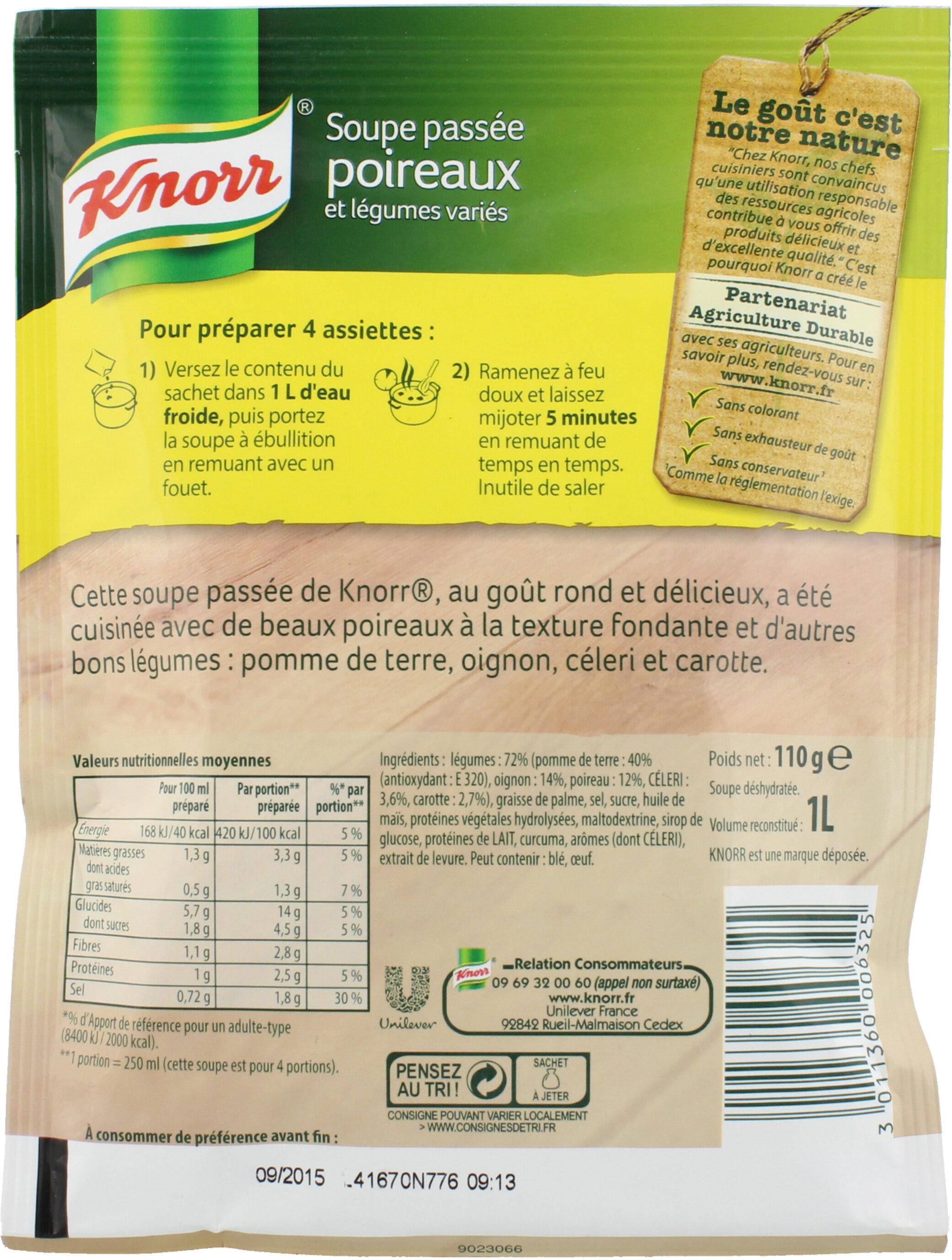 Knorr Soupe Passée Poireaux Légumes Variés 110g 4 Portions - 栄養成分表 - fr