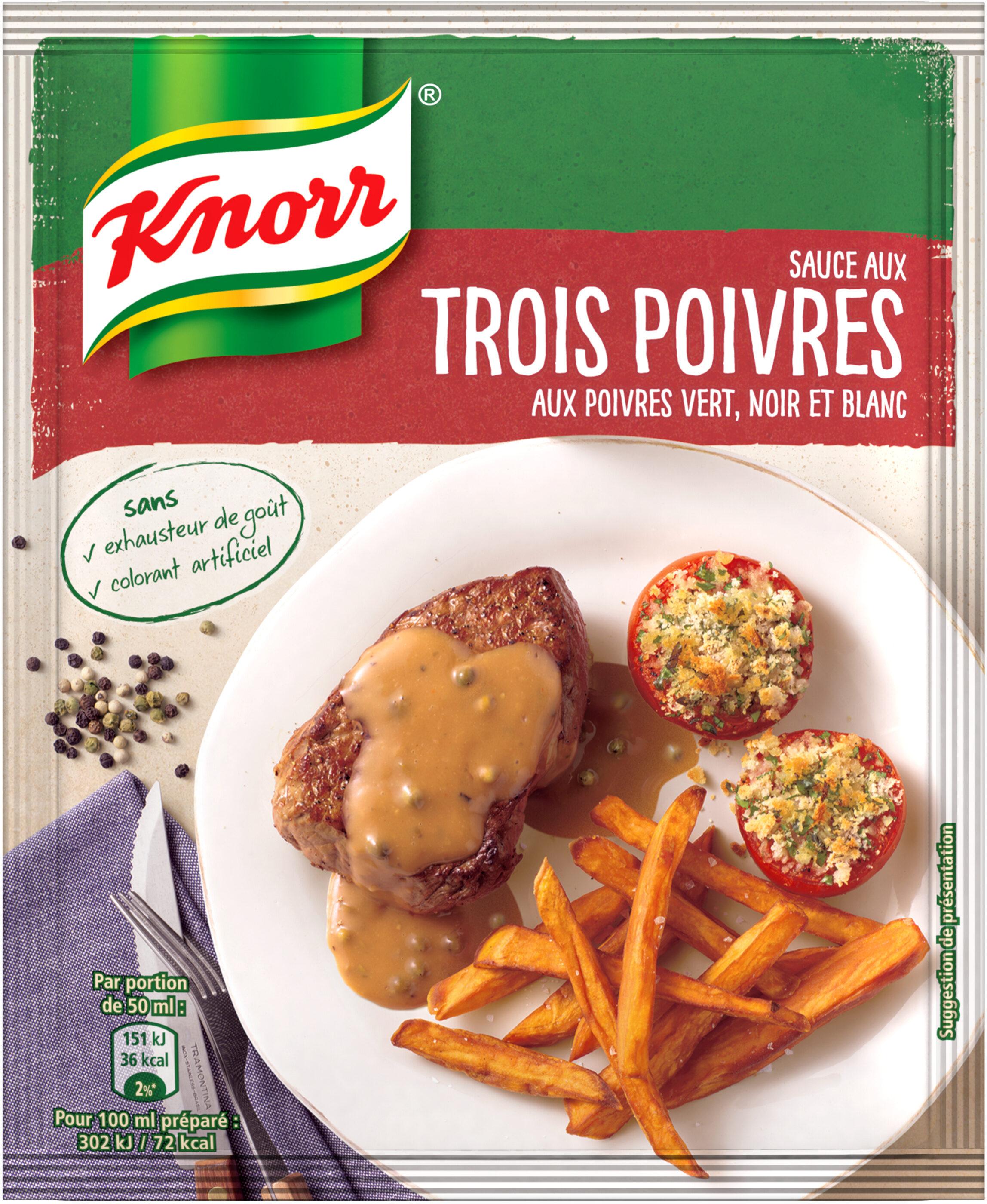 Knorr Sauce Déshydratée Poivres Vert Noir et Blanc 32g - Produit - fr