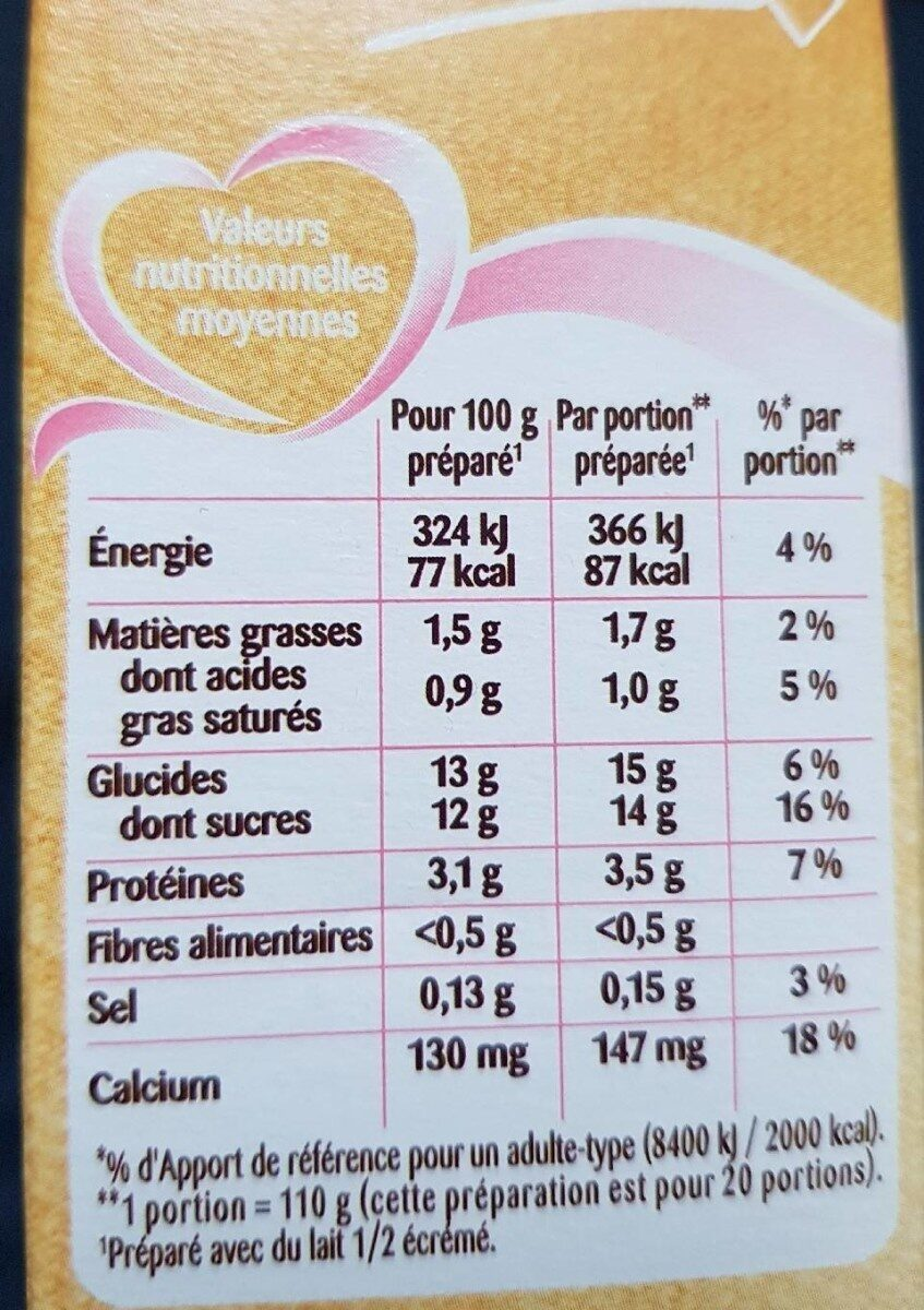 Flan entremets vanille - Informations nutritionnelles - fr