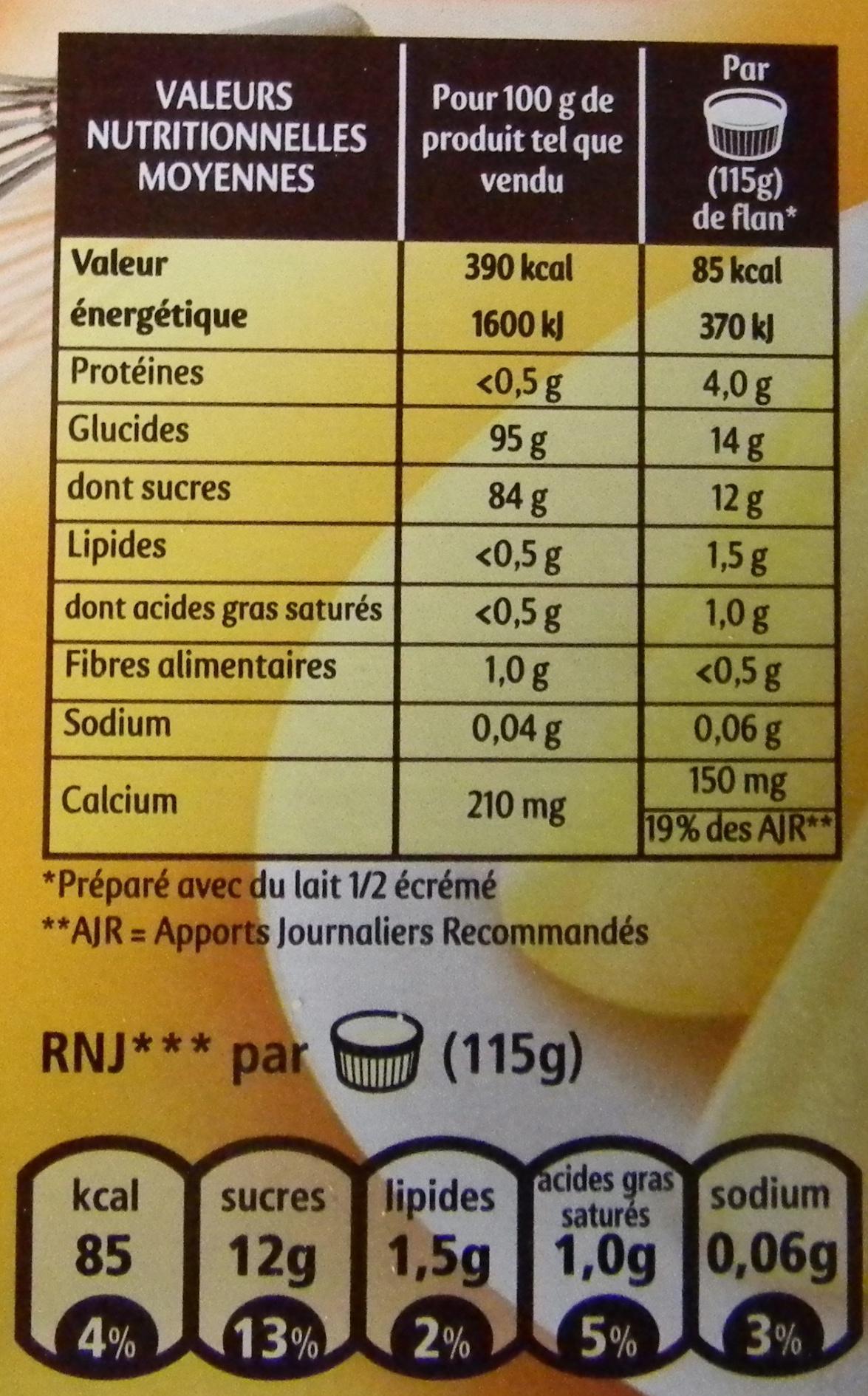 Flan Entremets saveur vanille - Nährwertangaben - fr
